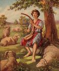 David praising God with his harp while tending sheep.jpg